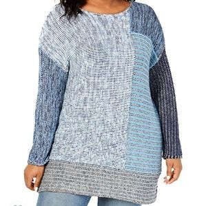 Style&Co Sweater Pullover Blue Knit Tunic Crewneck